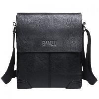 Retro Letter and PU Leather Design Messenger Bag For Men - BLACK