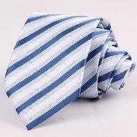 Hot Sale 7CM Width Blue Shades Striped Jacquard Tie For Men - BLUE