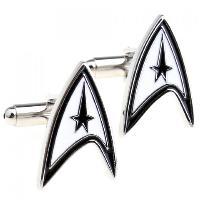 Pair of Stylish Star Trek Logo Shape Alloy Cufflinks For Men - WHITE/BLACK