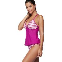 Spaghetti Strap Striped Color Block Women's Swimsuit - ROSE