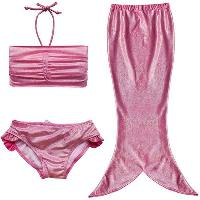 Cute Mermaid Design Solid Color Halter Bra + Briefs + Cover Up Girl's Swimsuit - PINK