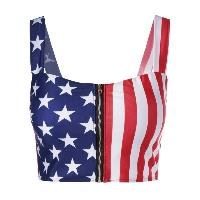 Women's Chic Flag Print Crop Top - COLORMIX