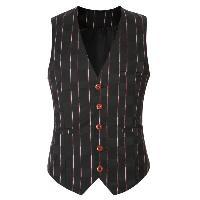 Striped Plaid Buckle Back Single Breasted Vest For Men - BLACK