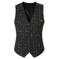Plaid Buckle Back Single Breasted Vest For Men - BLACK