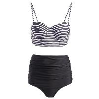 Stripe Print Spaghetti Strap Push-Up Swimsuit - BLACK