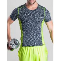 Quick-Dry Color Block Spliced Printed Round Neck Short Sleeve T-Shirt - GRAY