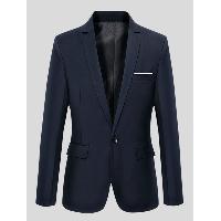 Slimming Lapel Long Sleeve One-Button Blazer - CADETBLUE