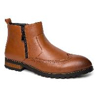 Engraving Point Toe Zipper Side Boots - BROWN