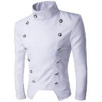 Stand Collar Irregular Design Double-Breasted Blazer - WHITE
