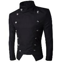 Stand Collar Irregular Design Double-Breasted Blazer - BLACK
