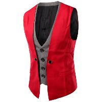 Plaid Insert Buckled Single Breasted Waistcoat - RED