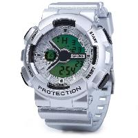 8886 Alarm Day Date Stopwatch Function Men LED Sports Watch - SILVER