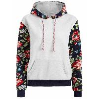 Floral Print Front Pocket Preppy Hoodie - GREY WHITE