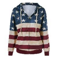 American Flag Pattern Zipper Up Hoodie - BLUE/RED