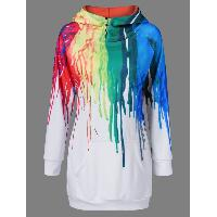 Oil Paint Over Print Hoodie - WHITE