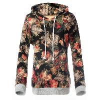 Fit Floral Printing Hoodie - BLACK