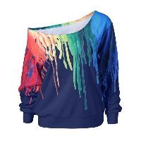 Paint Drip Skew Collar Sweatshirt - BLUE