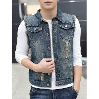 Pocket Distressed Frayed Denim Vest - BLUE