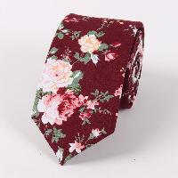 Vintage Floral Printed Cotton Neck Tie - WINE RED