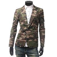 Pocket Camo One Button Blazer - ARMY GREEN