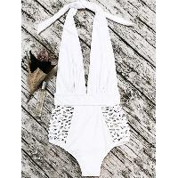 Cut Out High Waisted Plunge Swimsuit - WHITE