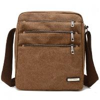 Canvas Multi Zippers Crossbody Bag - COFFEE