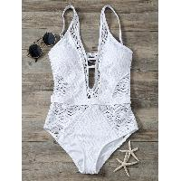 Plunging Neck Backless Lace Moulded Swimwear - WHITE
