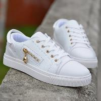 Zipper PU Leather Casual Shoes - WHITE