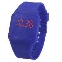 Rubber Touch Screen Sport Watches with Red Display Time Rectangle Shape - BLUE