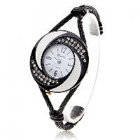 Exquisite Daudy Rhinestone Decoration Bangle Design Quartz Watch with 4 Arabic Numerals Hour Marks & White Dial - Black