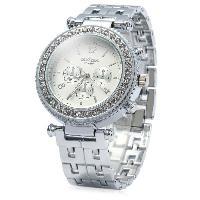Contena Geneva Female Diamond Quartz Watch with Decorative Sub-dials Round Dial Stainless Steel Strap - SILVER
