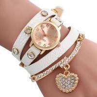 Vintage Leopard Leather Wrap Bracelet Wrist Women Watch with Heart Pendant Rhinestone - WHITE