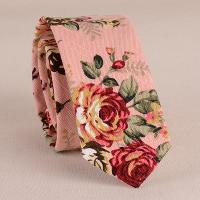 Stylish Flower Pattern 5CM Width Pink Tie For Men - PINK