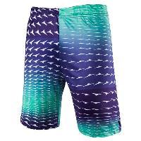 Straight Leg Gradient Color Elastic Waist Men's Swimming Trunks - NEON GREEN
