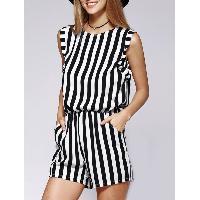 Elegant Sleeveless Striped Fitted Cutout Women's Romper - STRIPE