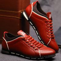 Fashion Splicing and PU Leather Design Casual Shoes For Men - RED BROWN