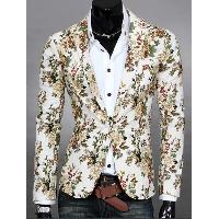 Lapel Flowers Print One Button Design Blazer For Men - WHITE