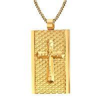 Rectangle Rhombus Embellished Cross Necklace - GOLDEN