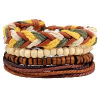 Layered Bead Braided Bracelets - BROWN