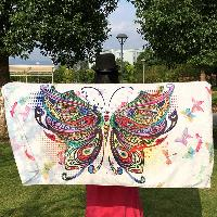 Colorful Butterfly Rectangle Scarf - WHITE