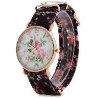 Floral Pattern Leather Band Women Quartz Watch - BROWN