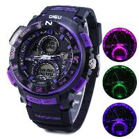 Gobu 1510 Analog Digital Flashing Light LED Militray Watch Outdoor Sports Water Resistant Multifunctional Wristwatch - PURPLE
