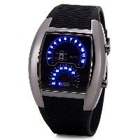 Luxury LED Newest Car Watch with Digital Indicate Day/Date and Rubber Watchband - BLACK