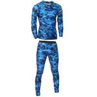 Camo T-Shirt and Elastic Waist Gym Pants Twinset - BLUE
