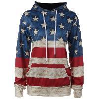 American Flag Printed Loose Hoodie - COLORMIX