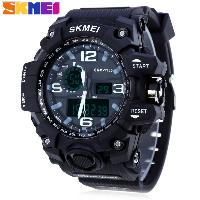 SKMEI 1155 Men Double Movement Watch Water Resistance Dual Time Alarm Light Wristwatch - BLACK