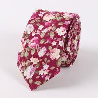 Vintage Gravatas Corbatas Floral Neck Tie - WINE RED