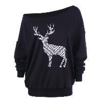 Fawn Print Skew Collar Pullover Sweatshirt - BLACK