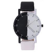 Color Block Faux Leather Quartz Watch - BLACK