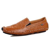 Embossed Faux Leather Slip On Shoes - BROWN